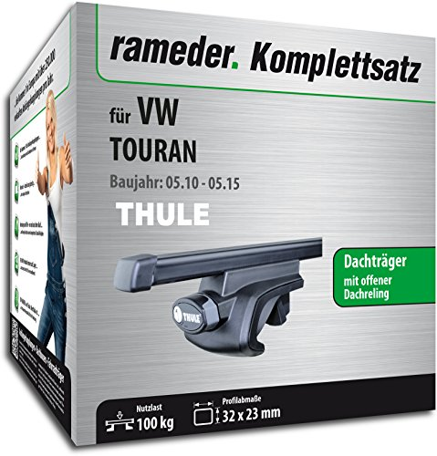 Rameder Komplettsatz, Dachträger SquareBar für VW TOURAN (116010-10449-52)