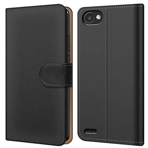 Conie BW18367 Basic Wallet Kompatibel mit LG Q6, Booklet PU Leder Hülle Tasche mit Kartenfächer & Aufstellfunktion für Q6 Case Schwarz