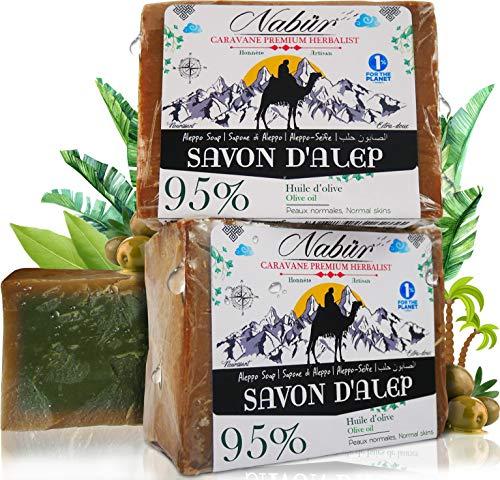 Nabür - 2 jabones Alepo | 95% Aceite Oliva + 5% Aceite