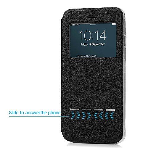 iPhone 7 Hülle Case, Kasos iPhone 7 Schutzhülle Standfunktion PU Leder Fenster Tasche Handyhülle Ledercase Etui Book Cover Schale in Blau Schwarz