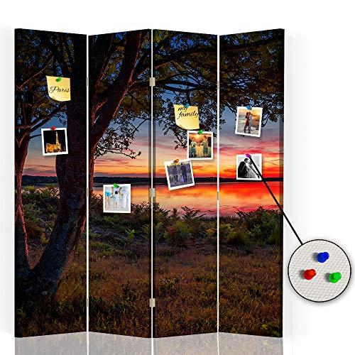 Feeby Separador con Corcho Paisaje 4 Paneles 360° Árbol Agua Naturaleza Multi 145x175 cm