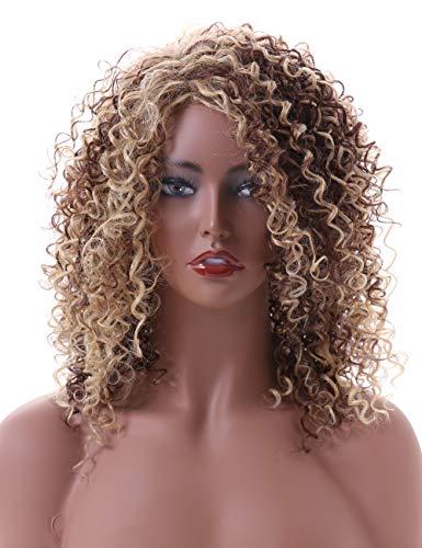 Lange Afro Verworrene Lockige Perücke Kunsthaar Afro Perücken Mit Ombre Brown Mix Blonde Perücken Für Schwarze Frauen(EINWEG)