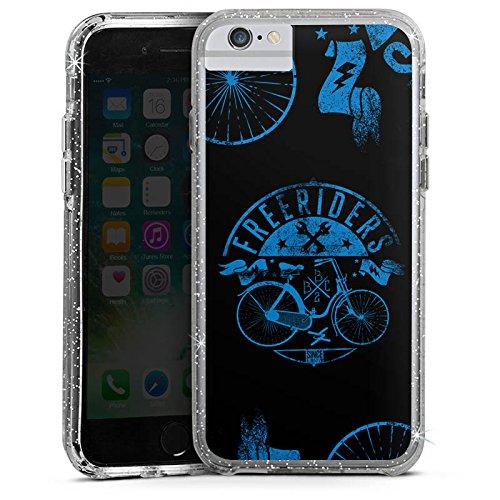 Apple iPhone X Bumper Hülle Bumper Case Glitzer Hülle Bicycle Fahrrad Freiheit Bumper Case Glitzer silber