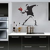 Banksy Flower Thrower - Adhesivo decorativo para pared (tamaño mediano), diseño de terrorista floral