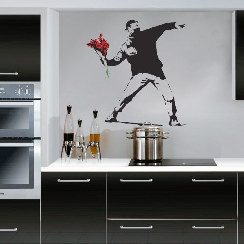 Wondrous Wall Art Banksy Flower Thrower Deko-Wandsticker
