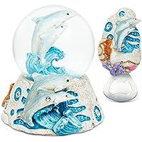 Puzzled Dolphin resina di pietra collezione compreso globo di neve e magnete