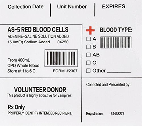 Amazlab Blood Pack IV Tasche Etiketten Set von (Welt Masken Auf Der Ganzen)