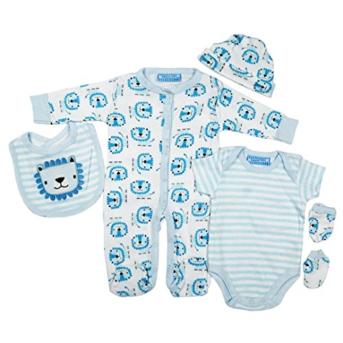 5 piece Layette Set Clothes Packs for Baby Boys Girls Infants Unisex Newborn Outfits Christening Christmas Birthday Gifts Sets from Auntie Grandma 100% cotton 0 0-3 3-6 months White Blue Lion