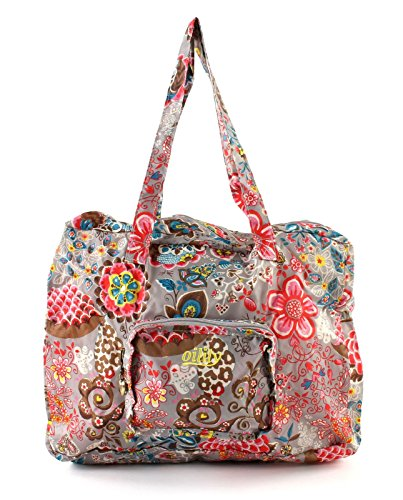 Oilily Painted Flowers Folding shopper Stone OCB0117-9000, Damen Shopper, grau (Stone 9000) unfolded 41 x 18 x 31 folded 16 x 4 x 14 (BxHxT)