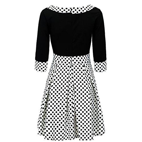 Laeticia Dreams Kleid 3/4 Arm Rockabilly S M L Weiß/Schwarz Punkte Klein