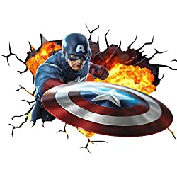 Marvel Vengadores Capitán América V001 pared Crack pared smash – Adhesivo decorativo para pared, Art de pared Póster adhesivo Tamaño 1000 mm de ancho x 600 mm de profundidad (tamaño grande)