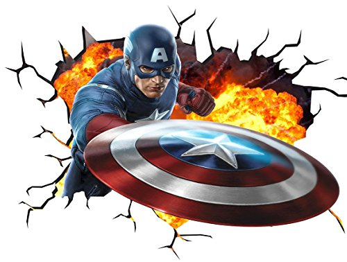 Marvel Avengers Captain America V001 Wall Crack Wall Smash Wall Sticker Self Adhesive Poster Wall Art Size 1000mm wide x 600mm deep (large) by Chicbanners (Marvel Avengers-fenster Aufkleber)