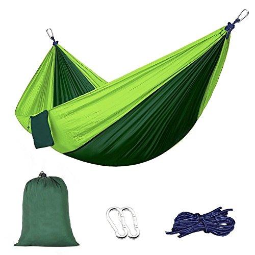 Amidon doble Personas Camping Hamaca–ligero Nylon portátil Hamaca de paracaídas de nylon 210T mejor caso pantalla doble hamaca para Backpacking, camping, viajes, playa, Hofmeister. 270CM (L) X 140CM (W)