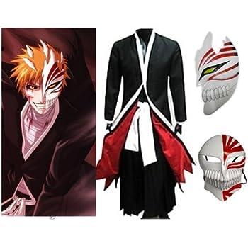 Japonais Anime Bleach Ichigo Kurosaki Cosplay Costume + Ichigo Kurosaki masque, taille L:(169-174cm, 60-70 kg)
