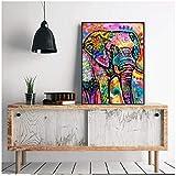 LYFCV Moderne Abstrakte Tier Malerei auf Leinwand Wandkunst Bild Bunte Elefanten Leinwand Poster Gemälde Für Wohnkultur-50x70 cm Kein Rahmen
