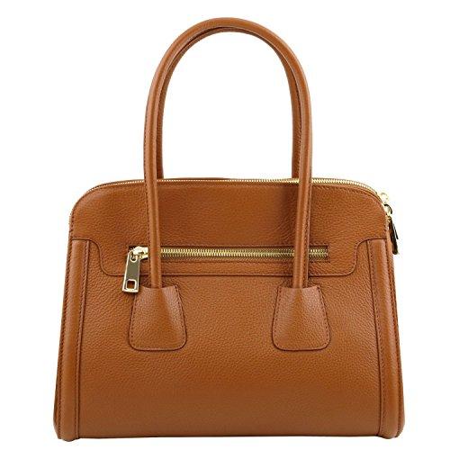 Tuscany Leather - TL Bag - Borsa a mano media in pelle morbida Nero - TL141285/2 Nude