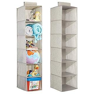 mDesign Lot de 2 étagère de Rangement en Tissu, à Suspendre - Organiseur d'armoire pour Chambre de bébé - Support d'Organisation à 6 Compartiments pour Serviettes, Couches etc - Taupe/Nature