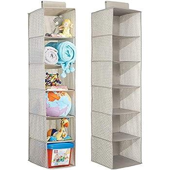 mDesign étagère Suspendue - 7 Compartiments et 3 tiroirs - Rangement Suspendu en Tissu - Meuble ...