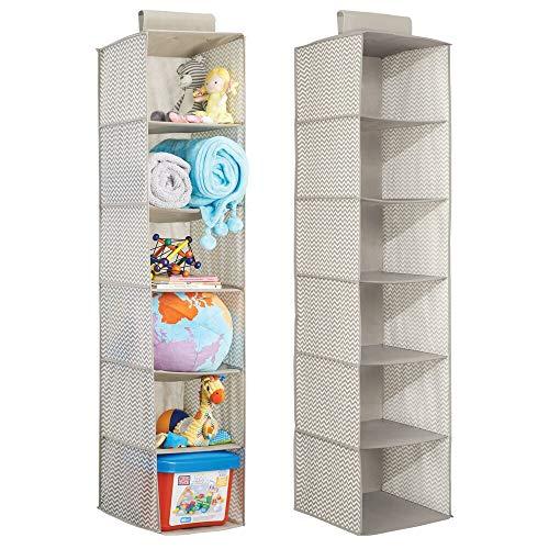 Mdesign portaoggetti in stoffa da appendere (pacco doppio) - organizer armadio per bambini - portaoggetti a 6 scomparti per vestiti, asciugamani, coperte - colore: lino