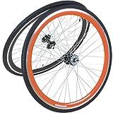 viking 28 Zoll 700C Laufradsatz mit Reifen Vorne + Hinten Fixie Singlespeed Hochflansch Fixed Gear Wheel, Farbe Vorderrad:Schwarz, Farbe Hinterrad:Orange
