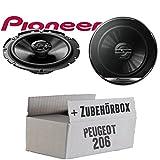 Peugeot 206 - Lautsprecher Boxen Pioneer TS-G1720F - 16cm 2-Wege Koax Koaxiallautsprecher Auto Einbausatz - Einbauset