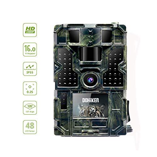 DOHIKER Cámara de Caza Gran angular de 120°y 16MP y 1080P Trail cámara 48 luces LED con PIR Infrarrojo Sensor de Movimiento Visión Nocturna para Cazar Fauna Seguridad de Niños Bebé Hogar Moscota Animal Granja y Garaje (Sin tarjeta SD ni batería)