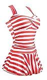 Summer Mae Damen Einteiler Swimdress Streifen Slim Badeanzug ROT (EU Size 36-38)