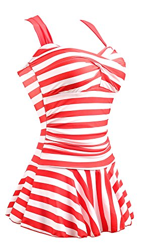 Summer Mae Damen Einteiler Swimdress Streifen Slim Badeanzug ROT (EU Size 44-46) (Badeanzüge Tankini Modest)