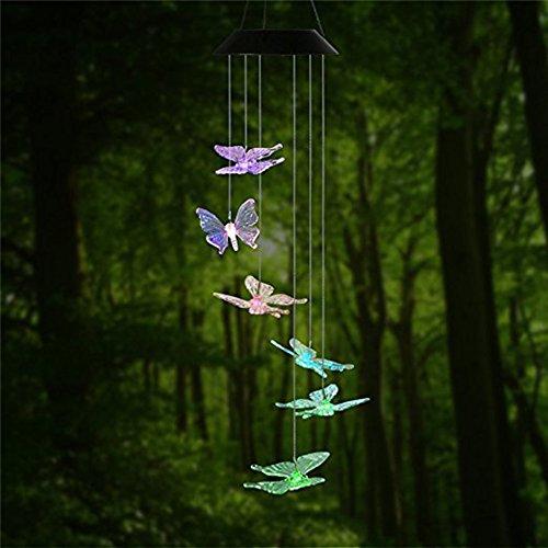 Farben LED Farbwechsel, die Sonne, Wind Chimes Windspiel Tier-Windspiel, die Solar-Windspiel, Schmetterling Dragonfly für Outdoor, Indoor-Gardening Beleuchtung Dekoration Zuhause ()