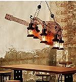 Kronleuchter Vintage Restaurant Wohnzimmer National Schiff Woodcarving Gitarre Kronleuchter Bar Musik Kunst Dekoration Licht (Stoff : Holz)