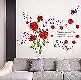 QTXINGMU Romantische Rote Rose Wall Sticker Hintergrund Wohnzimmer Schlafzimmer Home Decor PVC Wall Sticker