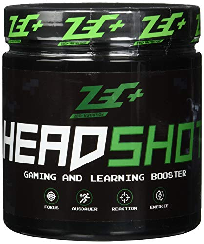 ZEC+ HEADSHOT Gaming Booster - 280 g Brain Booster Pulver, Gaming-Supplement als Koffein-Drink für Gamer, hochdosiertes Koffein aus Guarana-Extrakt, Made in Germany, Geschmack Ginger-Limonade