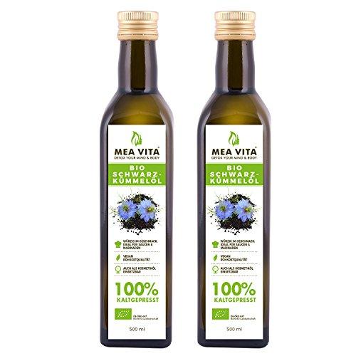 MeaVita Bio Schwarzkümmelöl, kaltgepresst, 2er Pack (2 x 500ml) (2 2 Tropfen X)