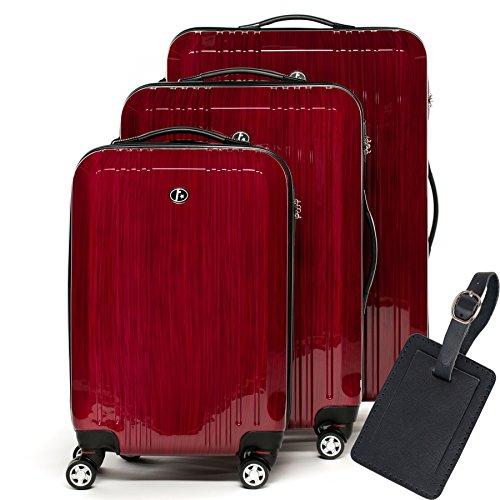 FERGÉ Kofferset Hartschale 3-teilig + 1x Anhänger Cannes Trolley-Set - Handgepäck 55 cm L XL - 3er Hartschalenkoffer Roll-Koffer 4 Rollen rot