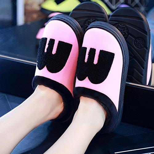DogHaccd pantofole,Spesse pantofole invernali calzature donna giovane Cartoon carino caldo scarpe eleganti home inverno cotone pantofole per uomini,M Verde38-39 M rosa chiaro3