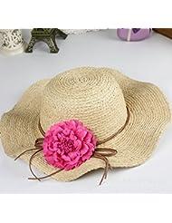 lvlidan sombrero de sol, verano, Dame, sombrero de paja, Gran Sombrero, In khaki + Flowers