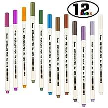 Umitive12 Pack Rotuladores Metalizados, Rotuladores Colores Metalizados Uso En Papel, Plástico, Madera, Cristal, Para Fabricación de Tarjetas y Álbum de Fotos de Bricolaje, Libros de Colorear Adultos, Ceramica