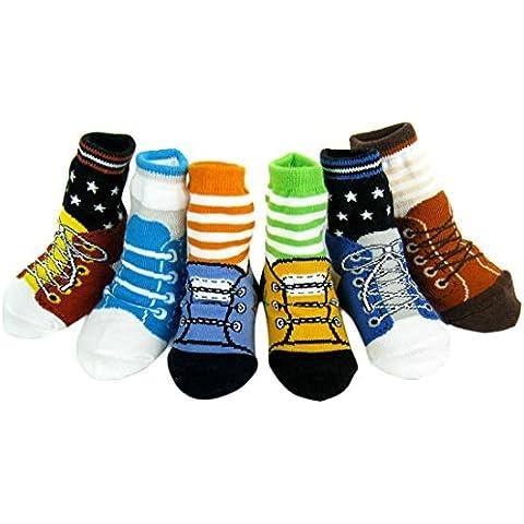 KF Baby–Calzini antiscivolo con design a scarpa, 12–24mesi, 6paia