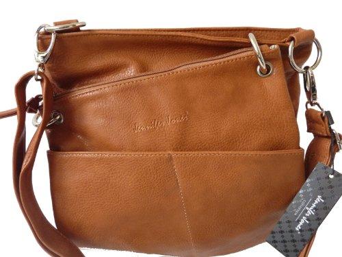 JENNIFER JONES 3900 Damen Tasche, Umhängetasche 2 in 1 in 5 Farben 34x31x5 (braun cognac)