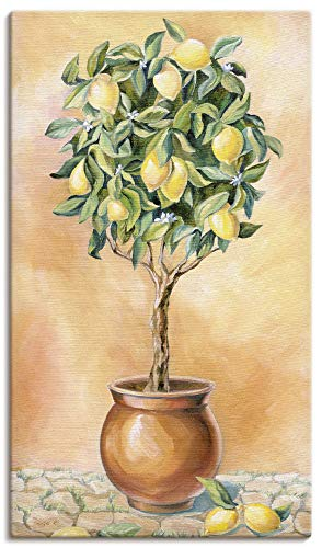 Artland Leinwandbilder auf Holz Wandbild 40x70 cm Hochformat Natur Botanik Pflanze Zitronen Baum Italien Toskana mediterran T5HE