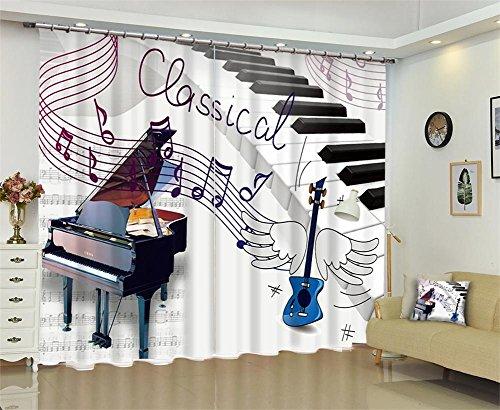 Tende per bambini 3d pianoforte nota musicale drappo oscuramento tende da finestra per soggiorno camera da letto oscuramento pannello cortina , wide 3.0x high 2.7