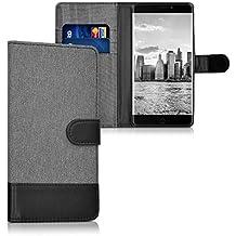 kwmobile Funda para Elephone P9000 - Wallet Case plegable de cuero sintético - Cover con tapa tarjetero y soporte en gris negro