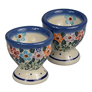 Traditional Polish Pottery, Handcrafted Ceramic Egg Cups (Set of 2), Diameter 6cm, Boleslawiec Style Pattern, P.102.Daisy