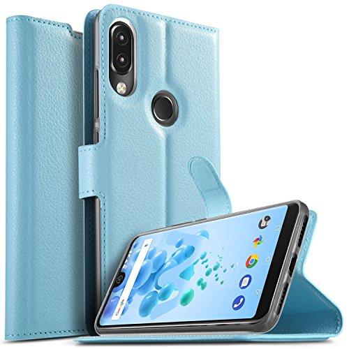 KuGi Wiko View 2 pro Hülle, Wiko View 2 pro Wallet Case, Brieftasche Case Hülle PU Kunstleder Flip Case mit Standfunktion Kartenfächer und Bargeld für Wiko View 2 pro Smartphone.Blau
