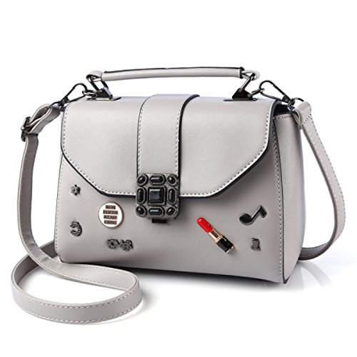 Ms. Serratura Tracolla Borsa Del Messaggero Quadratino lightgray