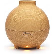 Paxamo el difusor de aceite esencial de aromaterapia el humidificador de niebla fría grande de diseño de grano de madera con lámpara de aromaterapia el nebulizador ultrasónico esférico que trabaja con ultra silencio toda la noche 600ml (Light wood)