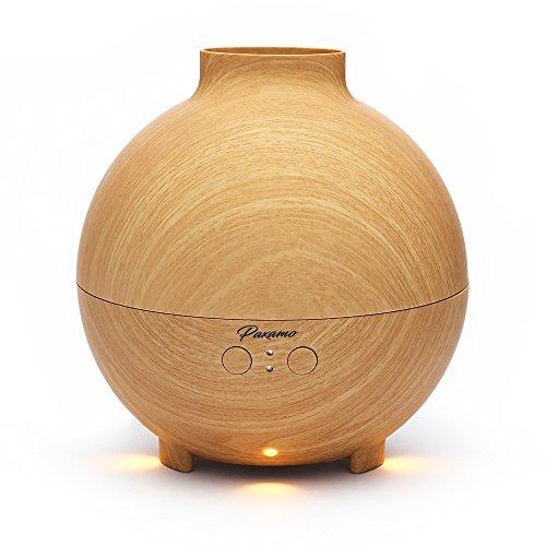 Paxamo Aroma Essential Oil Diffuser 600ml, Aromatherapie Ultraschall Kalten Nebel Luftbefeuchter Ätherischesöl Öl Düfte Diffusor Humidifier Elektrisch Duftlampe für Wohn-,Bade-,Schlaf-,Büro,Yoga (Light Wood)