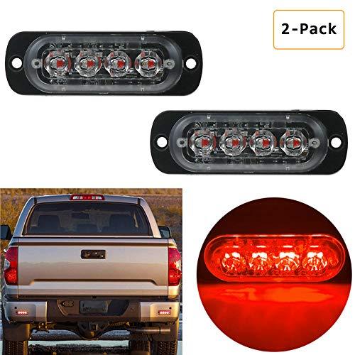 Ralbay Ad Alta Intensità Faro Strobo Lampeggiante 12~24V 4LED Luce Rossa LED Strobe Light Bar per Auto Camion SUV - 19 modalità Flash(2pcs)