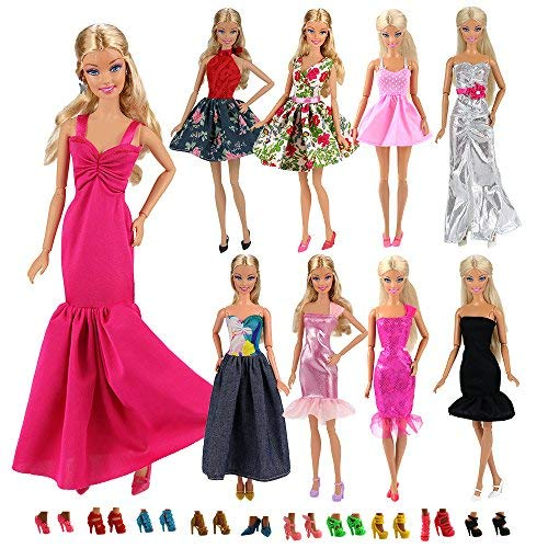 56e984d70e Miunana 15 PCS = 5 Fashion Mini Dress + 10 PCS Shoes For Barbie Doll  Handmade