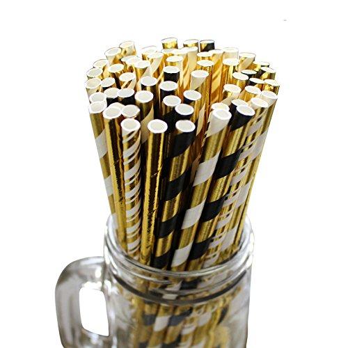 e (100 Stück) - 25er Pack Papiertrinkhalm - 4 Muster Biologisch Abbaubare Schwarz, Gold Gestreifte Strohhalme, Papierstrohhalm Brautparty, Hochzeit, Geburtstags Party Trinkhalme ()